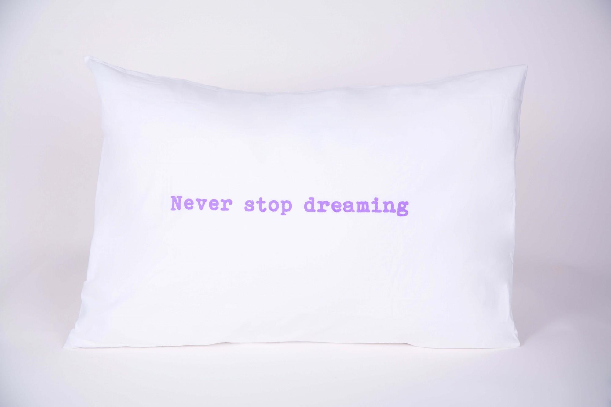 """זוג ציפיות """"never stop dreaming"""" סגול"""