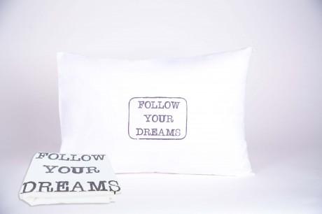 """זוג ציפיות """"FOLLOW YOUR DREAMS"""" אפור"""
